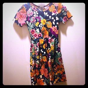 LuLaRoe Summer Flowers Spring Dress XS Yellow Blue